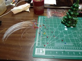 After a short eternity, I drilled and glued all of the bulbs. I only drilled through my finger once!