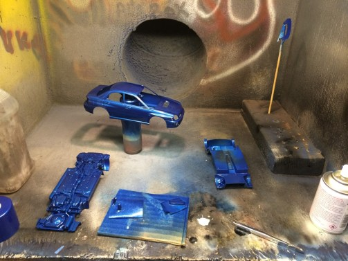 I'm in love with Tamiya spray paint! The WRX top to bottom looks fantastic after a few coats of Mica Blue.