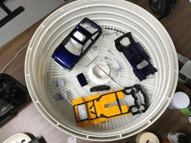 Once I removed the masking from the chassis paint, I backed the parts along with many others.