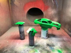 I moved the masking over to the other side and I sprayed primer and then green. I didn't thin the paint as much as I needed and it went on a little thick. Lesson learned. It was more than good enough for my son.