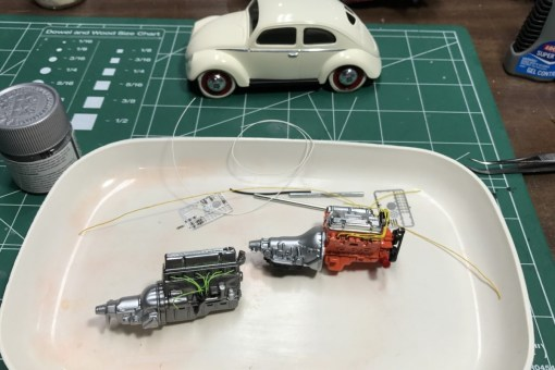 The Buick and 53 Chevy engines are now wired. The bug has the resin tires installed.