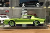 This is the first test of the painted Camaro. The white lettering on the wheels, chrome center caps and all green look awesome!