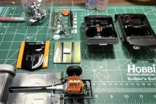 I prepared several parts for semi-gloss black detail work.