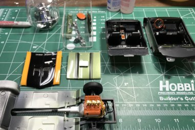 I prepared several parts for semi-gloss black detail work.