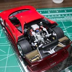 The engine was wired and additional details completed. It was glued in place.