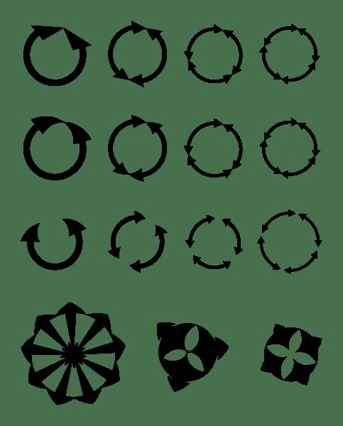 flèches suivant un cercle