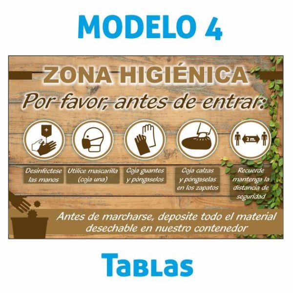cartel zona higienica tablas madera