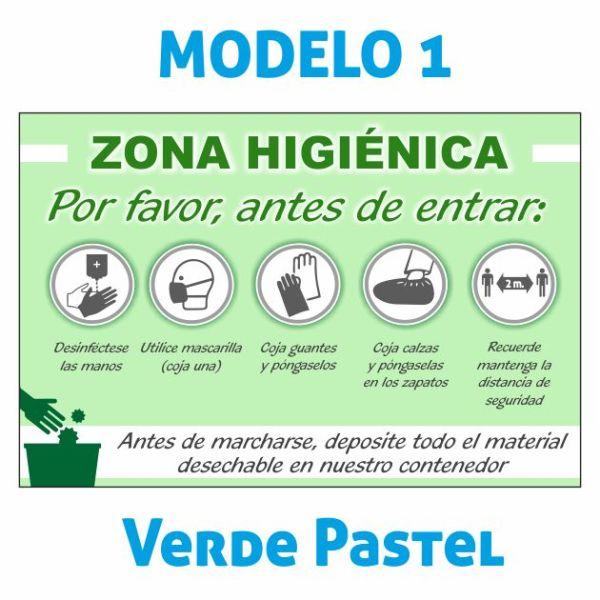 cartel zona higienica verde pastel