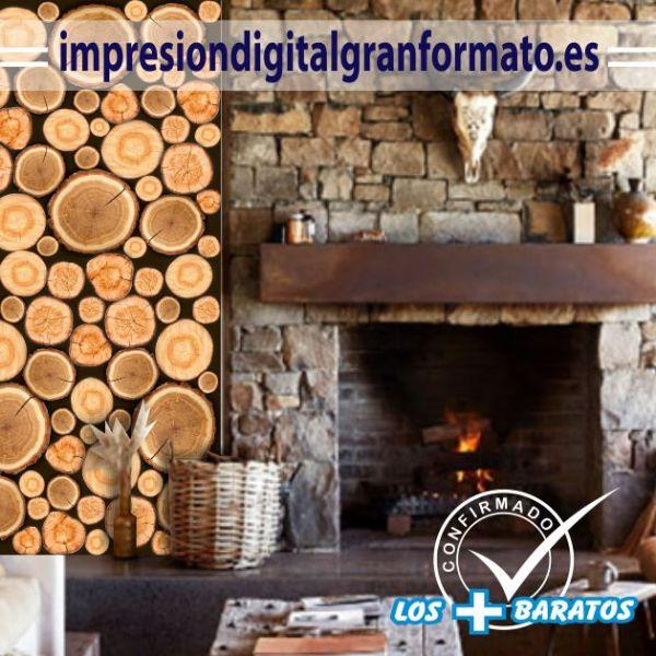pegatina para la pared de troncos de madera