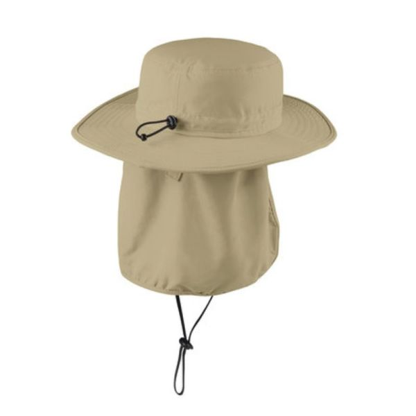 Stone color wide brim hat with UV and insect protection