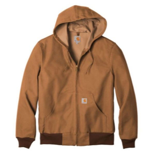 Hooded insulated duck jacket, brown