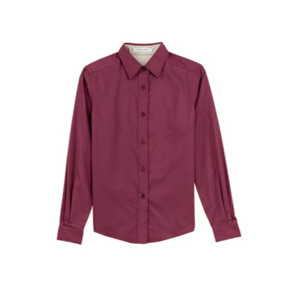 Ladies long sleeve shirt, Burgundy