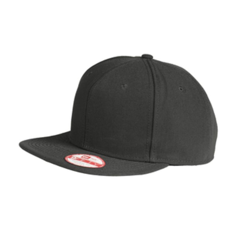 Flat bill snapback cap, black