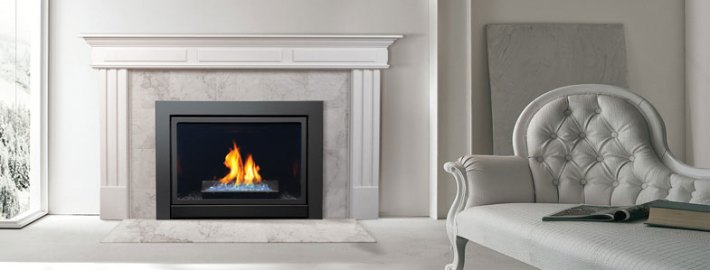 Capella Series. Direct Vent Gas Fireplace Insert by Marquis fireplaces