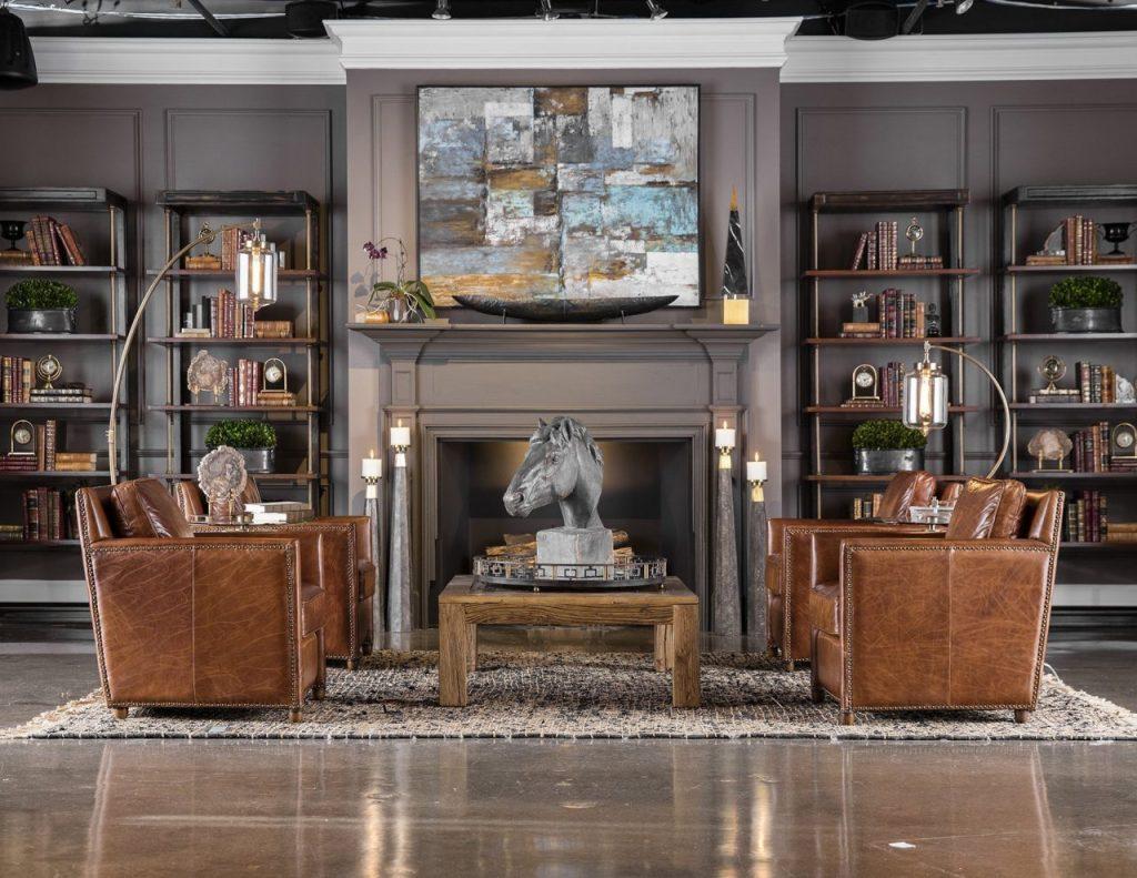 design- interior design- impressive windows and interiors- hastings- minnesota- chairs- artwork- shelving- leather