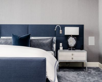 bedroom- bed- blue- side table- furniture- bedding- Eagan- Minnesota