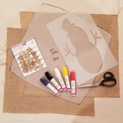 snowman- burlap- stencil- sharpie- paint- tutorial- how-to- learn- education- hastings- minnesota- eye candy