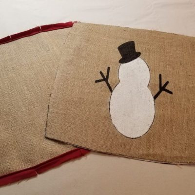snowman- burlap- pillow- red- chalk paint- markers- diy- tutorial- education- hastings- minnesota- eye candy