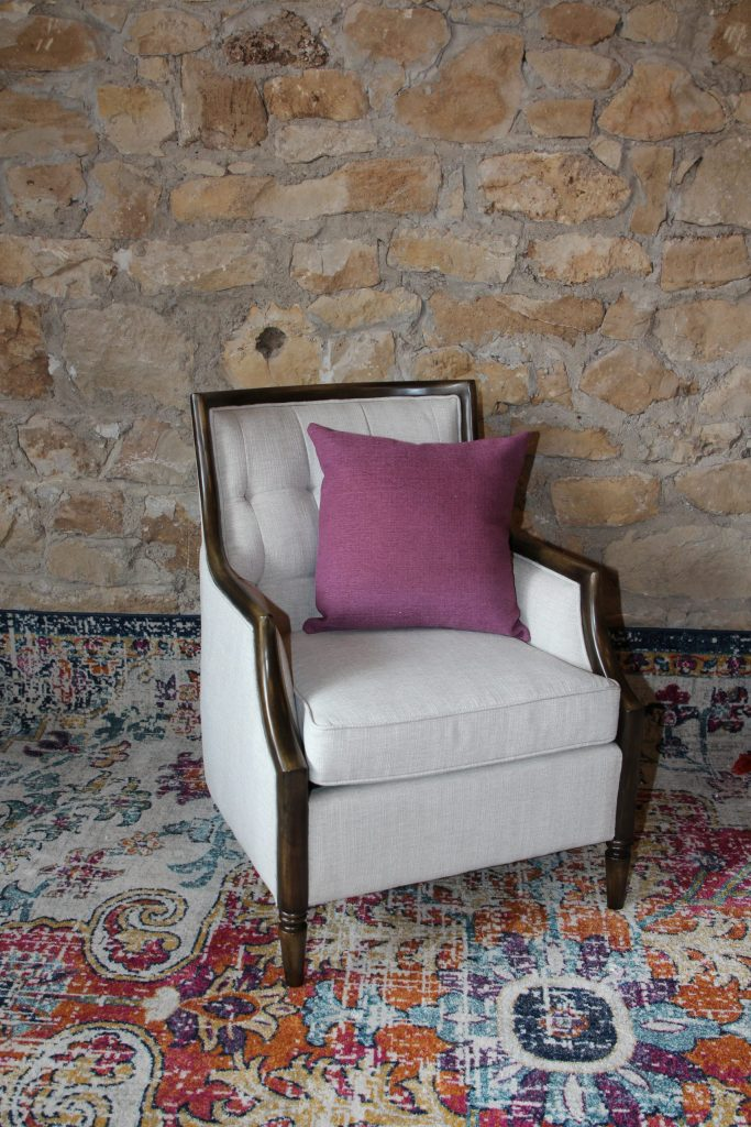 Ivory Linen Side chair with Dark walnut wood Impressive Windows & Interiors Hastings MN