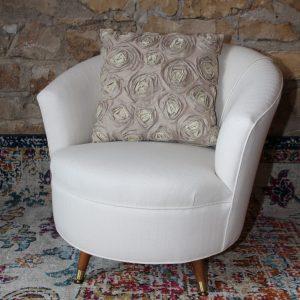 Custom upholstered white barrel chair Impressive Windows and Interiors Hastings MN 55033