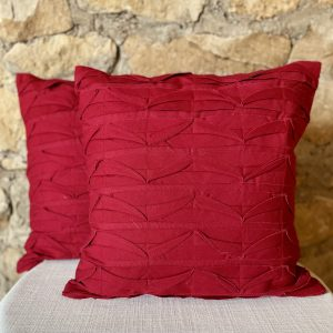 red pintucked pillow from Impressive Windows & Interiors Hastings Minnesota