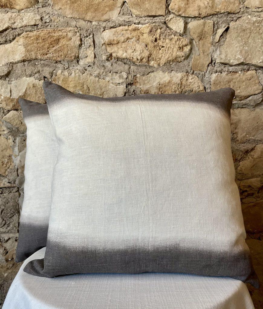 gray and cream fade away linen pillow