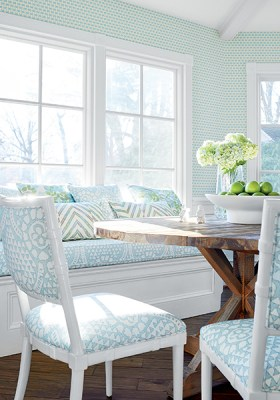 Dinette area in kitchen- teal small scale wallpaper- custom blue patterned cushion with matching throw pillows- custom upholstered chairs in large scale blue fabric- Impressive Windows and Interiors Hastings MN
