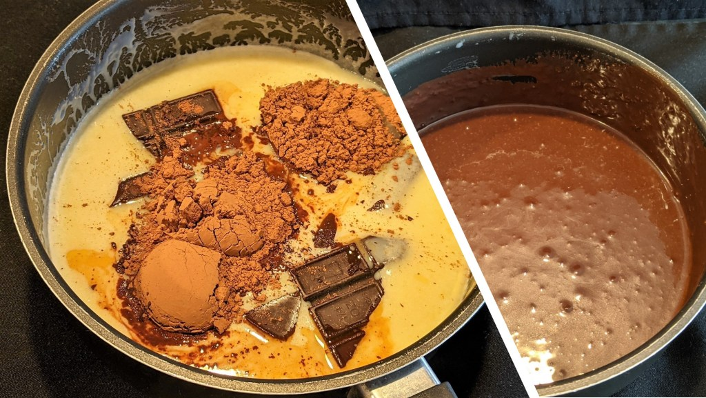 Add chocolate, cocoa powder, and vanilla, stirring until chocolate melts and mixture is smooth and combined. Allow to cool to room temperature.