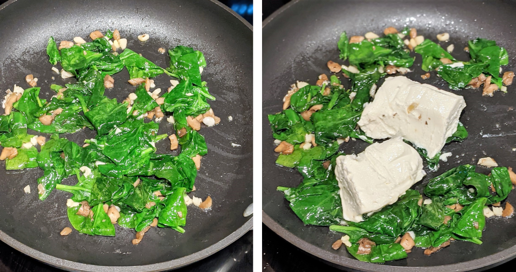 Add the spinach, cook until it wilts. Add the cream cheese, salt, and pepper. Stir until the cream cheese is melted and everything is well-combined.