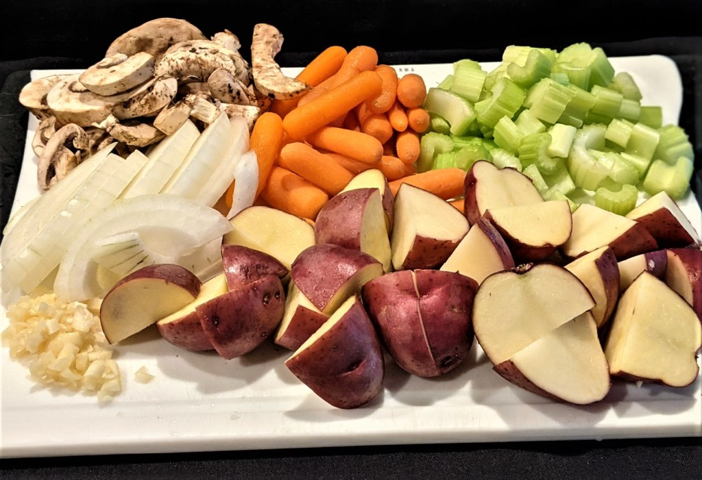 Picture of all the veggies prepped and on a cutting board