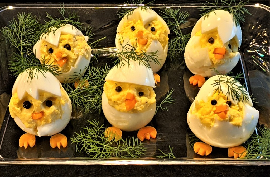 Chicks with sprigs of fresh dill