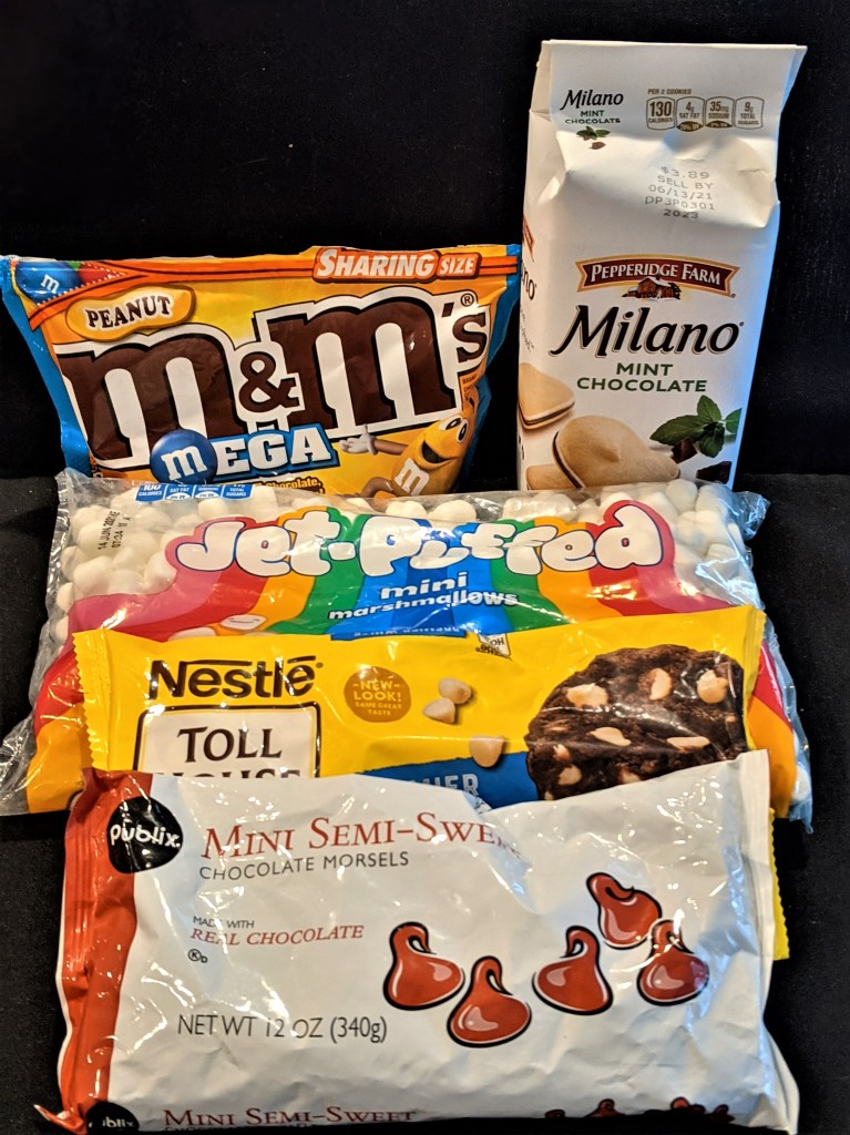 Milano Cookies, mini marshmallows, white chocolate morsels, Peanut M&Ms and min chocolate morsels