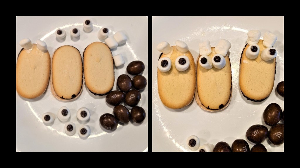 plates with cookies, marshmallow eyes, and brown M&Ms