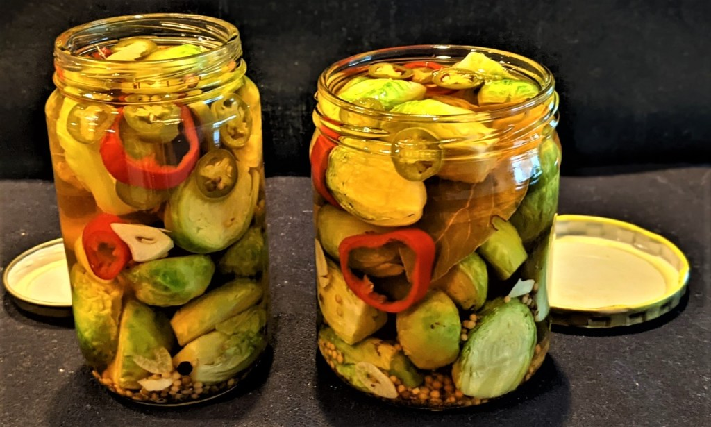 Filled jars with open lids