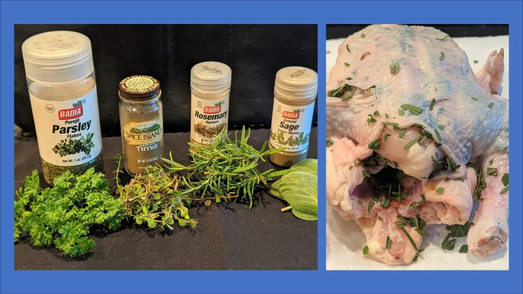 picture of herbs and picture of chicken with herbs under the skin