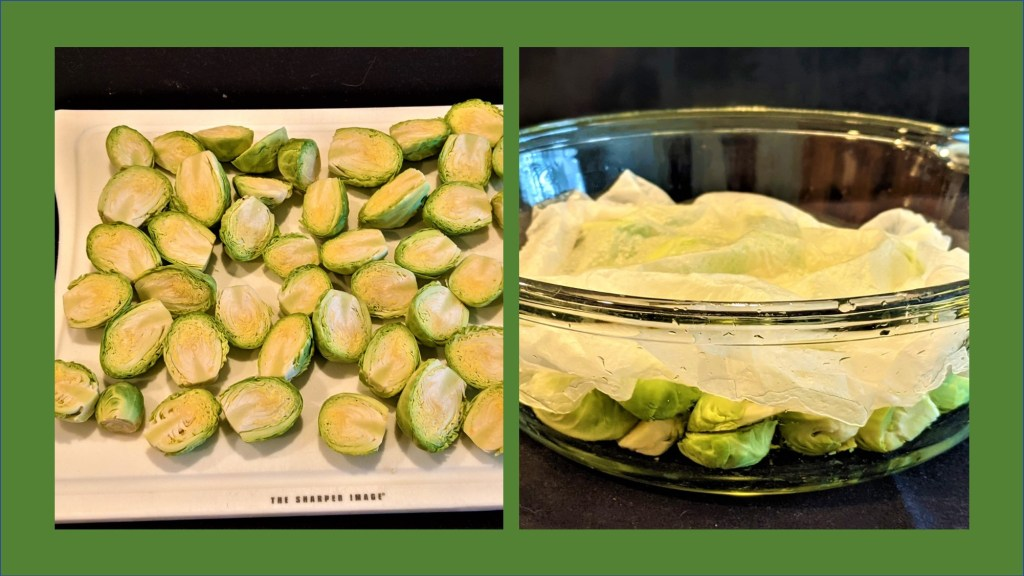 Brussels sprout halved on a cutting board and in a bowl covered with a paper towel