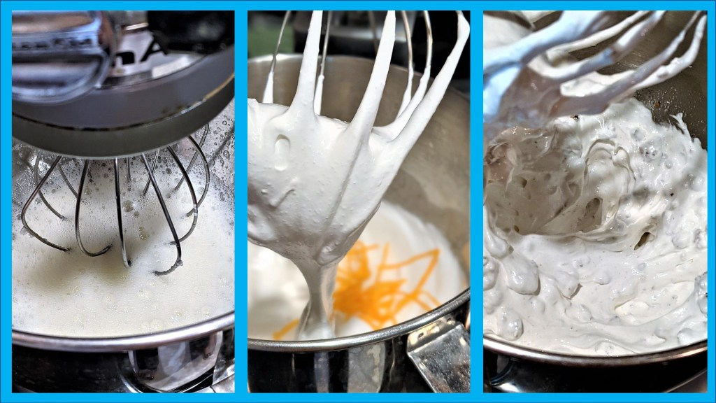 pictures of the stages of eggs whites from frothy to stiff peaks to added zest and pecans