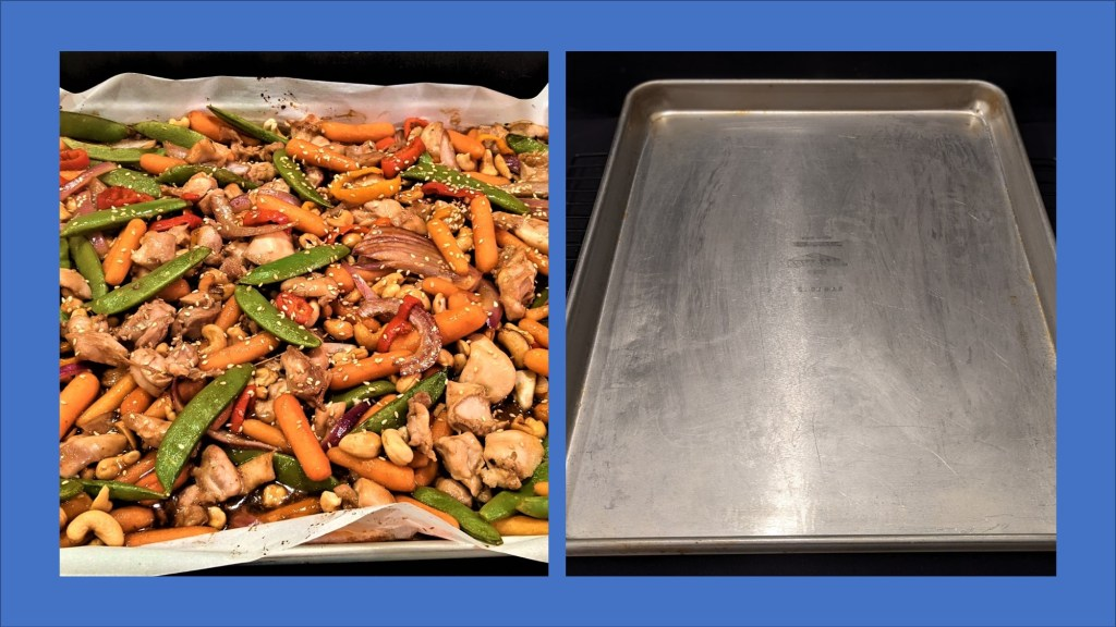 comparison of filled sheet pan and clean sheet pan