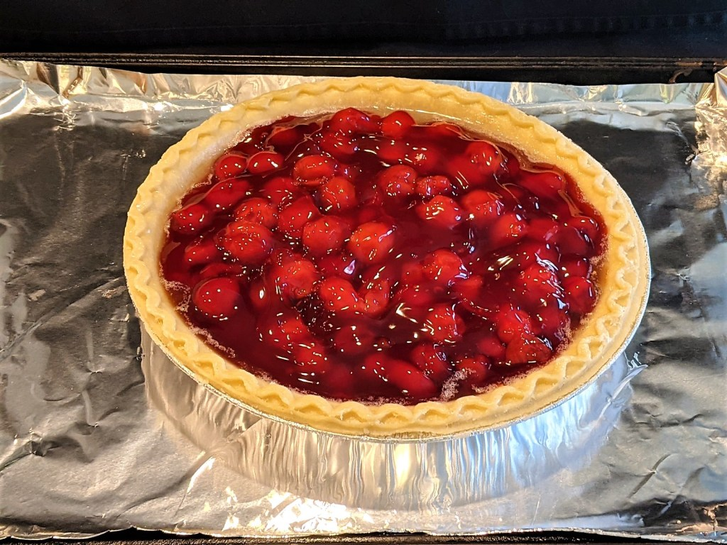 pie on foil covered baking pan