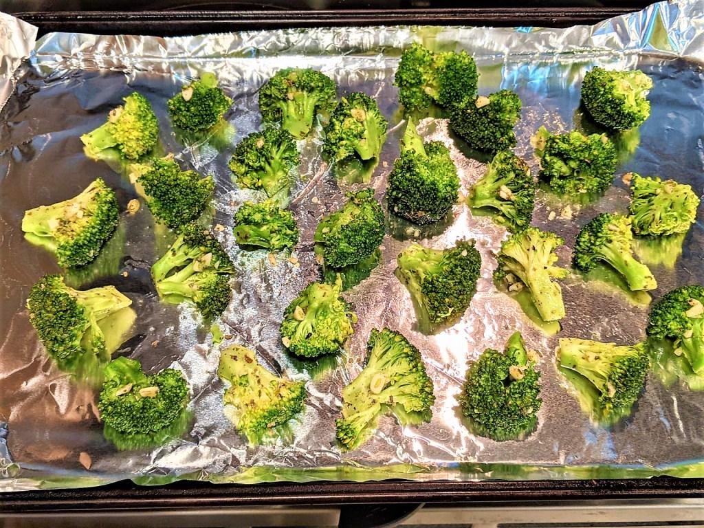 image of broccoli on baking sheet