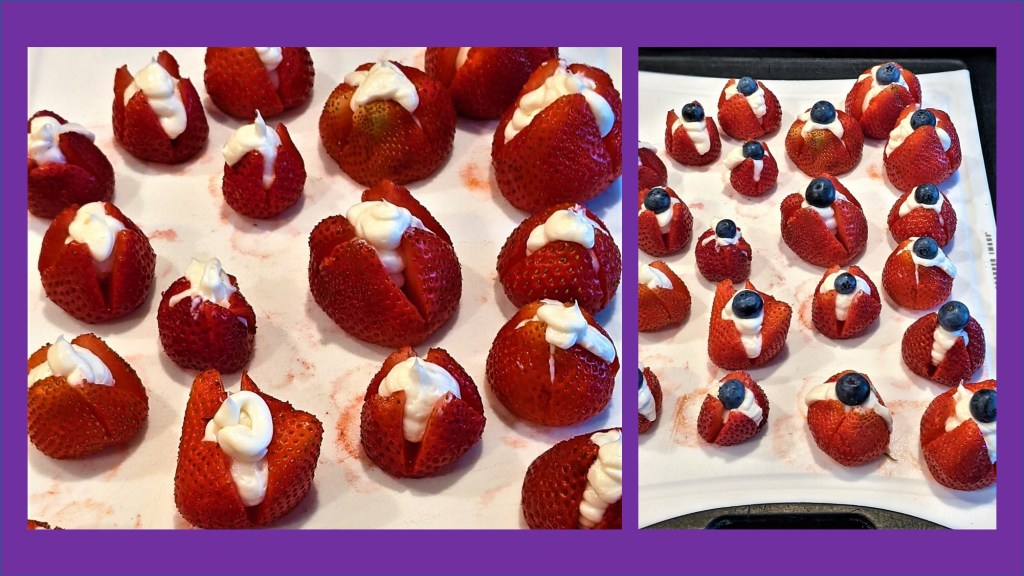 cream filled strawberries, strawberries topped with a blueberry