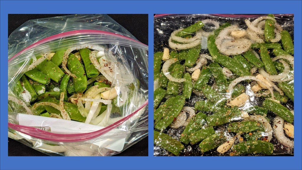 images of Ziplock bag filled with peas, onion, garlic and seasoning