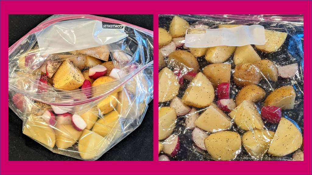 potatoes and radishes in a plastic bag - two views