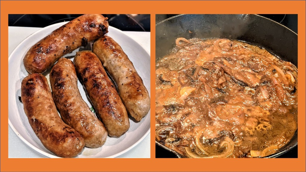 plate of brats and pan of cooking onions
