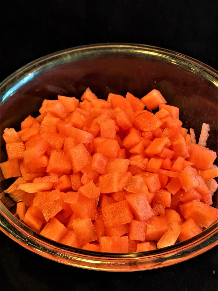 diced watermelon in bowl