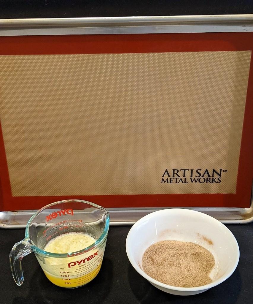 pan, butter, sugar & cinnamom mixture