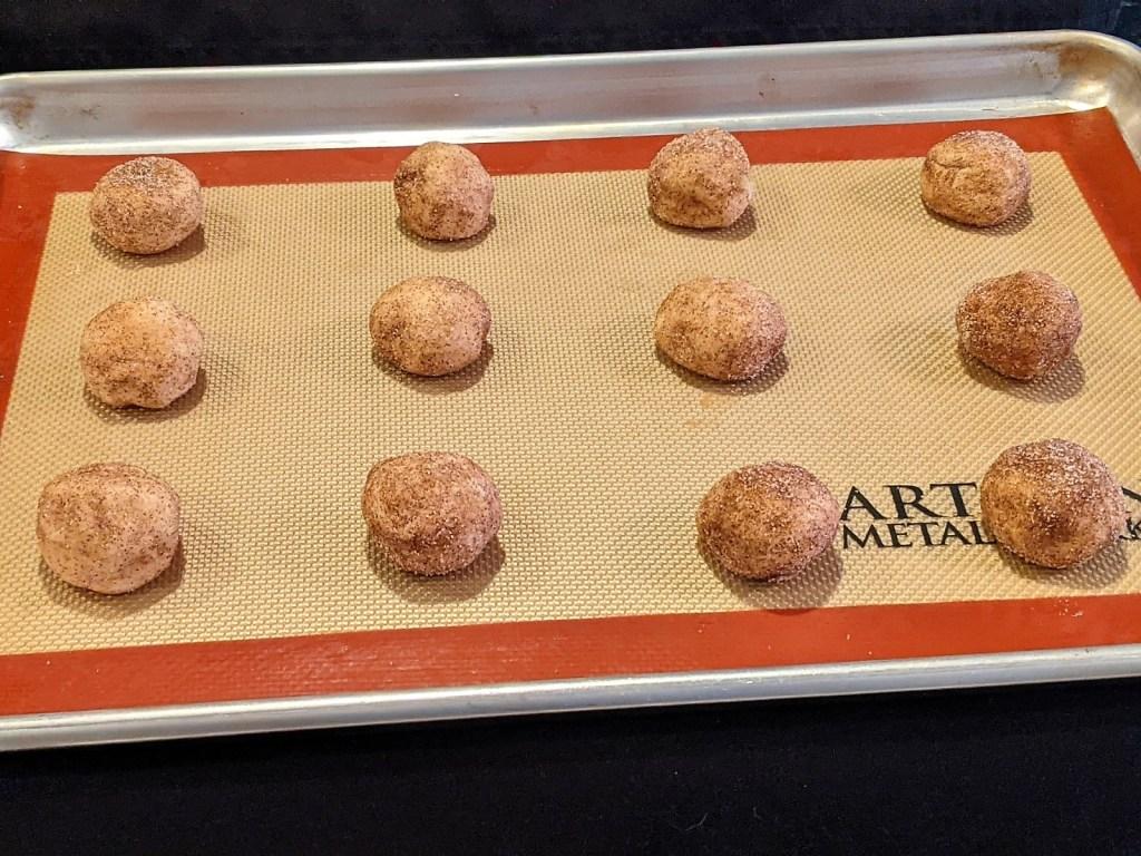 dough balls on cookie sheet/pan