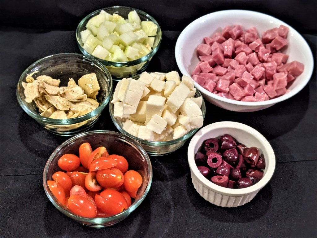 prepped ingredients in small bowls