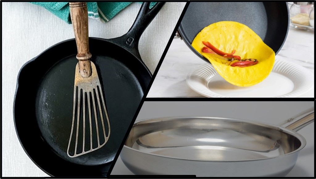 image of three frying pans