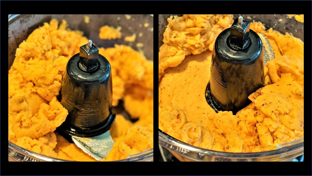 Blended mixture in food processor